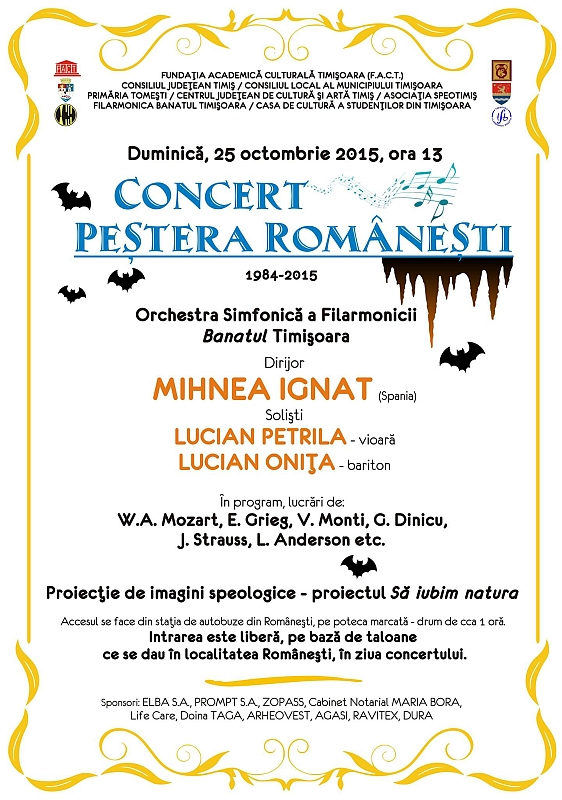 Afis Concert in Pestera Romanesti 2015