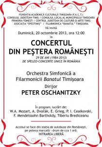 Afis concert in Pestera Romanesti 2013
